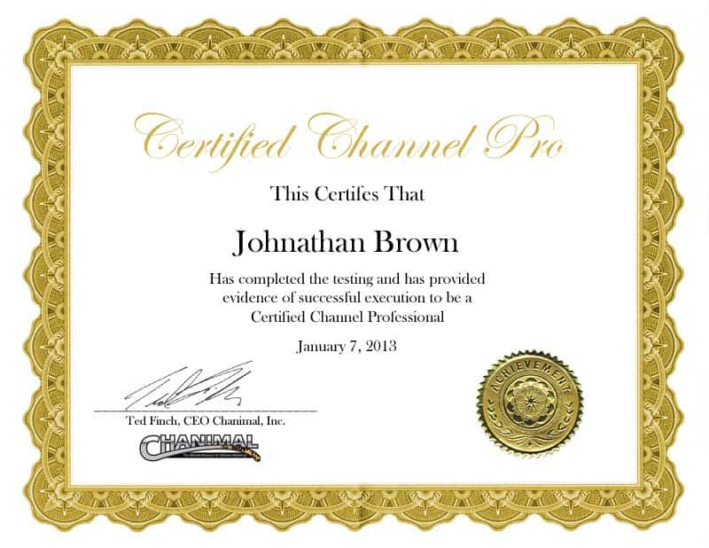 certified channel manager - chanimal certification